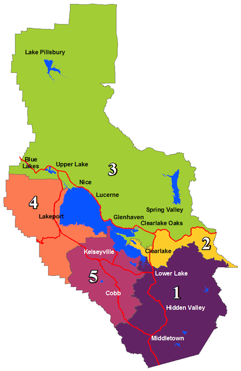 Board of Supervisors District Map of Lake County