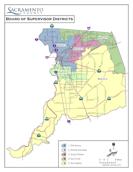 Board of Supervisors District Map of Sacramento County