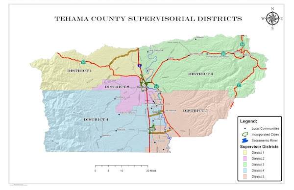 Board of Supervisors District Map of Tehama County