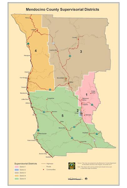 Board of Supervisors District Map of Mendocino County