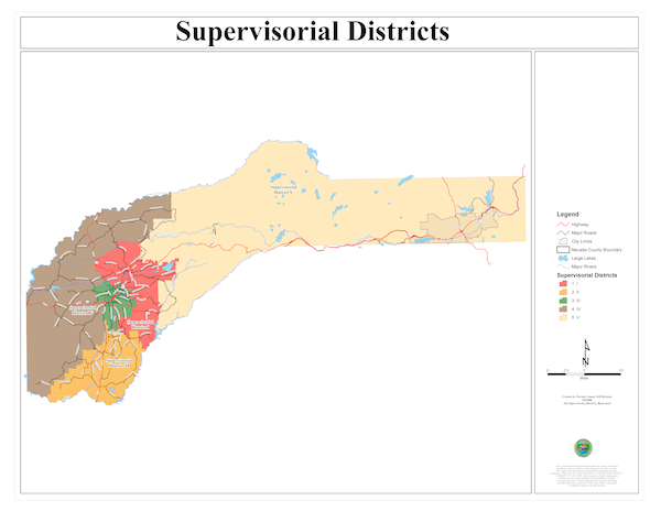 Board of Supervisors District Map of Nevada County