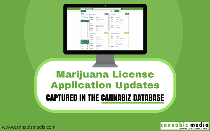 Marijuana License Application Updates Captured in the Cannabiz Database