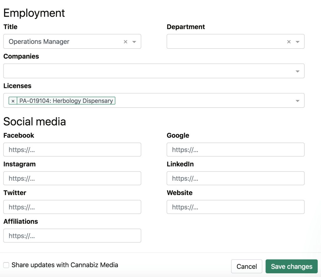 Cannabiz Media Database Edit Employment