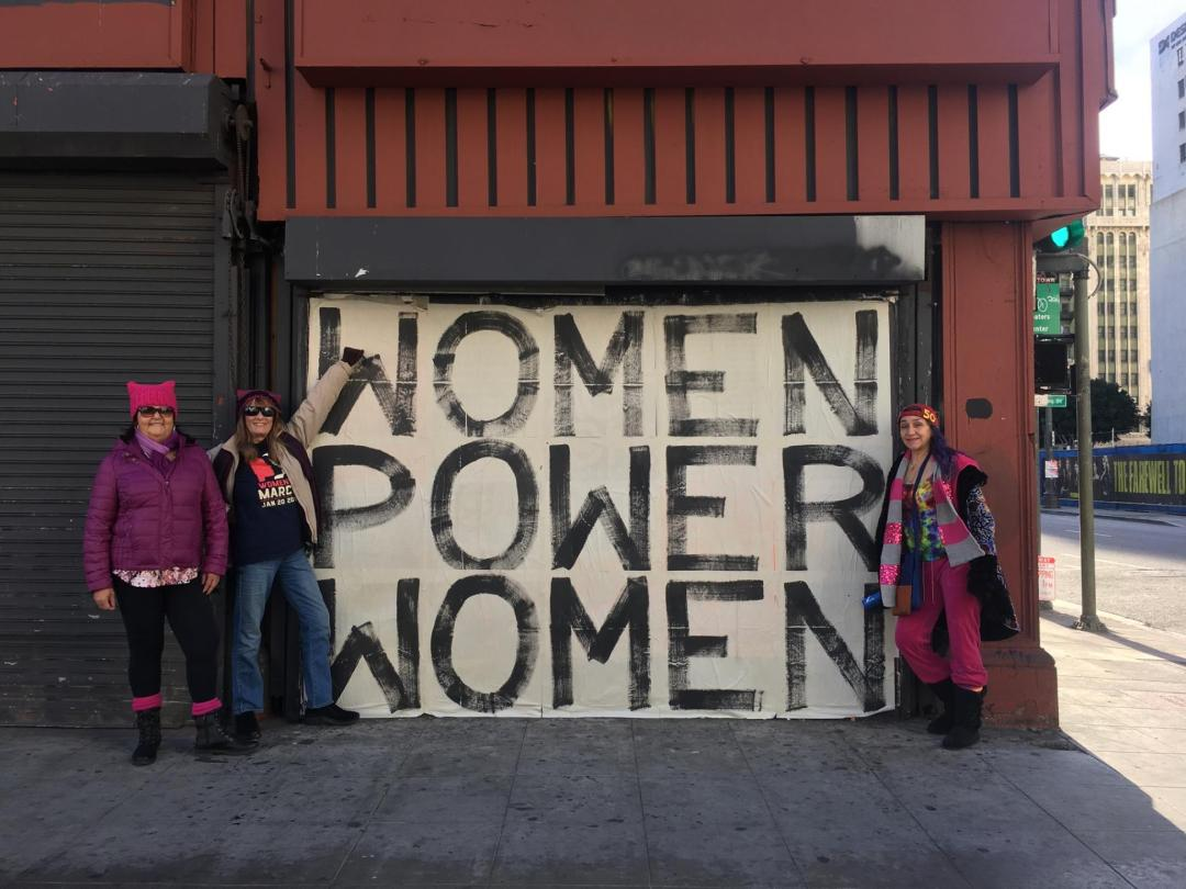 Los Angeles Cannabis Warriors Yamileth Bolanos, Cynthia Johnson and Norma White pose for with a powerful message. Photo by Barry Kramer.
