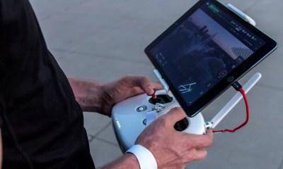 Man controls a drone