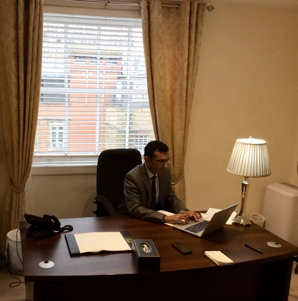 Dr Anup Mathew pictured his office at The Medical Cannabis Clinic, Harley St, London.