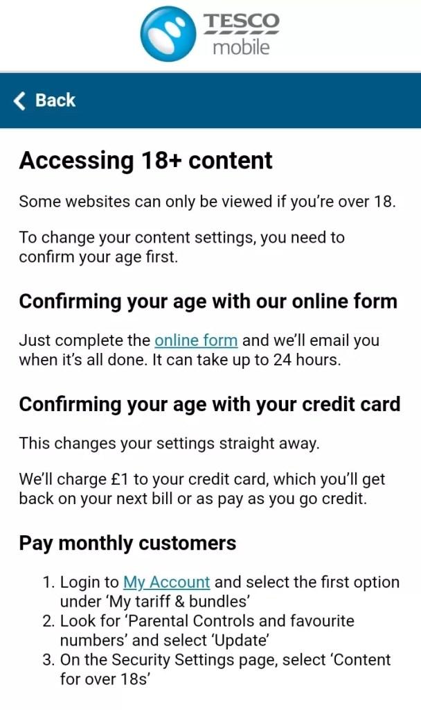 Screenshot of Tesco Mobile customer notification