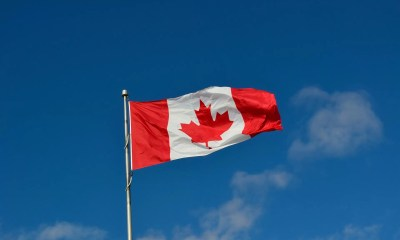 Canadian flag blowing the the breeze