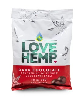 A packet of Love Hemp CBD dark chocolate
