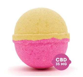 A pink and yellow bath bomb
