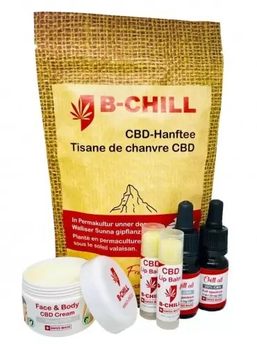 A wellbeing gift set with various CBD products.