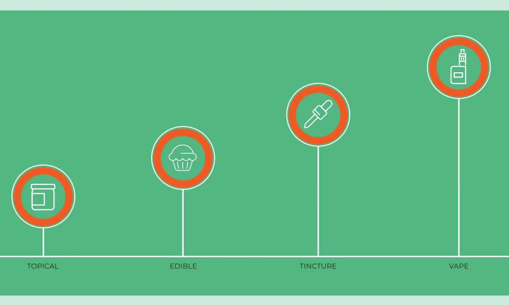 graph on green background showing the four main ways to take CBD