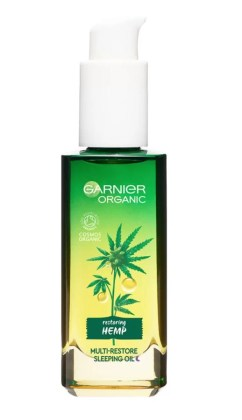garnier organic hemp multi-restore facial sleeping oil 30ml pump bottle