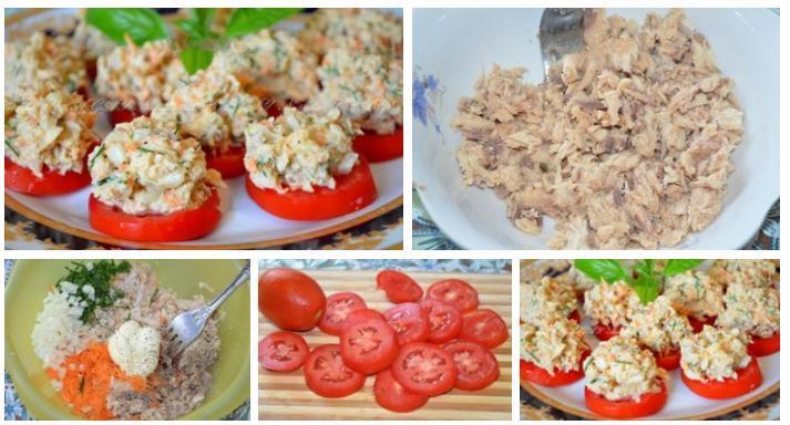Этапы приготовления закуски из рыбных консервов