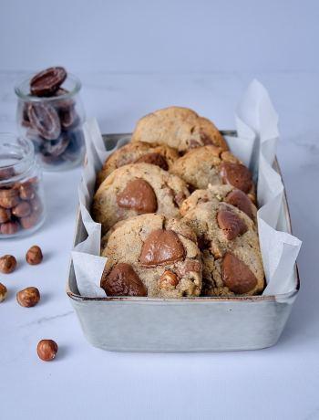 Cookies aux noisettes, beurre noisette et chocolat au lait