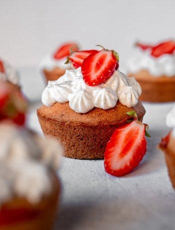 financier fraises et crème fouettée vanille