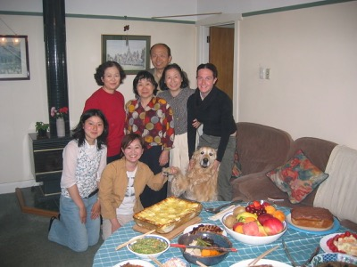 Homestay guests evening meal party