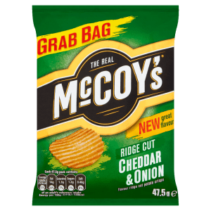McCoys Cheddar & Onion Flavour Ridge Cut Potato Crisps 47.5g