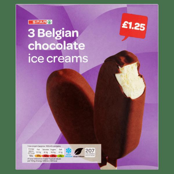 Spar Belgian Chocolate Ice Creams 3 x 100ml (300ml)