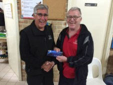 Tues 12th July 2016 : David Gardiner presenting tonights winner Joe Wilson with a movie voucher.