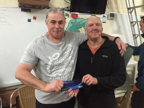 Tues 30th August 2016 : Tonights photo show Louis Botes presenting Malcolm with a movie voucher