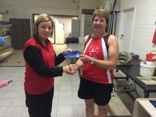 Tues 15th Nov 2016 : Tonights photo shows Judith Thompson presenting Simone Burge with a movie voucher
