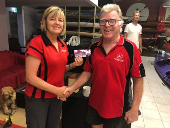 Tues 17th January 2018 : Tonight's photo shows Club Secretary Judith Thompson presenting David Gardiner with a movie voucher