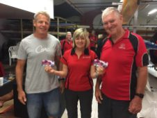 Tuesday 13th February 2018 Tonight's photo shows Club Secretary Judith Thompson presenting Jerry Alderson and Gary Killian with movie vouchers.
