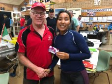 Tues 15th May 2018 : Tonight's photo shows David Gardiner presenting Linnet with a movie voucher