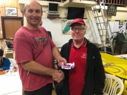 Tues 11th September 2018 : Tonight's photo shows Mike Galanty presenting David Gardiner with a movie voucher.