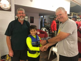Tues 13th November 2018 : Tonight's photo shows club member Jerry Alderson presenting David Griffiths with a movie voucher and Connor Jacob with a small junior prize