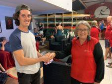 Tuesday 12th March 2019 : Tonight's photo shows club member Mary-Joe Harris presenting Matt Jacob with the winners movie voucher.
