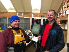 Tuesday 9th July 2019 : Tonight's photo shows club member Malachy Condon presenting tonights winner Dave MacCauley with a movie voucher.