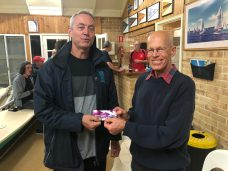 Tuesday 30th July 2019 : Tonight's photo shows club member John Reddel presenting tonight's winner Luc Jacob with a movie voucher.