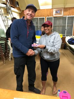 Tuesday 16th July 2019 : Tonight's photo shows club member Nishani Jacob presenting tonights winner Doug Hodson with a movie voucher.