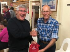 Tuesday 20th August 2019 : Tonight's photo shows club member John Reddell presenting tonight's winner Joe Wilson with a movie voucher.