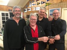 Tuesday 13th August 2019 : Tonight's photo shows club member Jerry Alderson presenting David Griffiths, David Gardiner and David Urquhart with the winners movie voucher