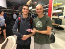 Tuesday 10th December 2019 : Carlo Cottino presenting his son with the winners movie voucher