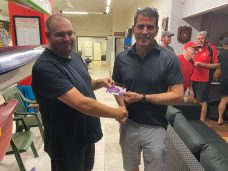 Tuesday 7th January 2020 : Tonight's photo shows new club member Mitch Hale presenting Tonights winner Stuart Hyde with the winners movie voucher.