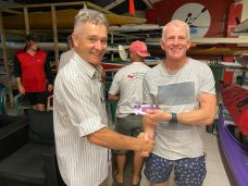 Tuesday 21st January 2020 : Tonight's photo shows new club member Jan Botha presenting Ken Ringrose with the winners movie voucher