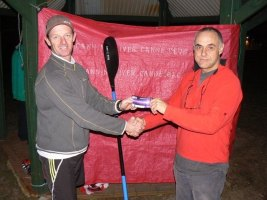 Tues 13th August 2013 : CRCC President Steve Egger presenting tonights winner Jeff Lohrey with a movie voucher