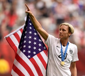 VANCOUVER, BC - JULY 05: Abby Wambach #20 of the United States celebrates the 5-2 victory against Japan in the FIFA Women's World Cup Canada 2015 Final at BC Place Stadium on July 5, 2015 in Vancouver, Canada. (Photo by Dennis Grombkowski/Getty Images)