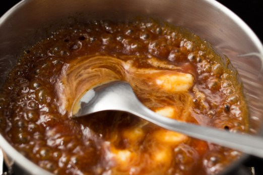 Creating caramel with double cream