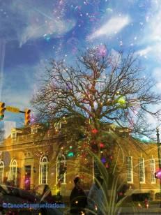 Christmas lights reflection