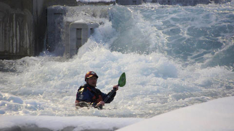 Kayaker below one of the big drops on the Olympic course