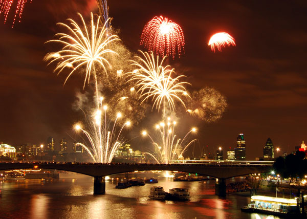 Fireworks reflected in the river Thames