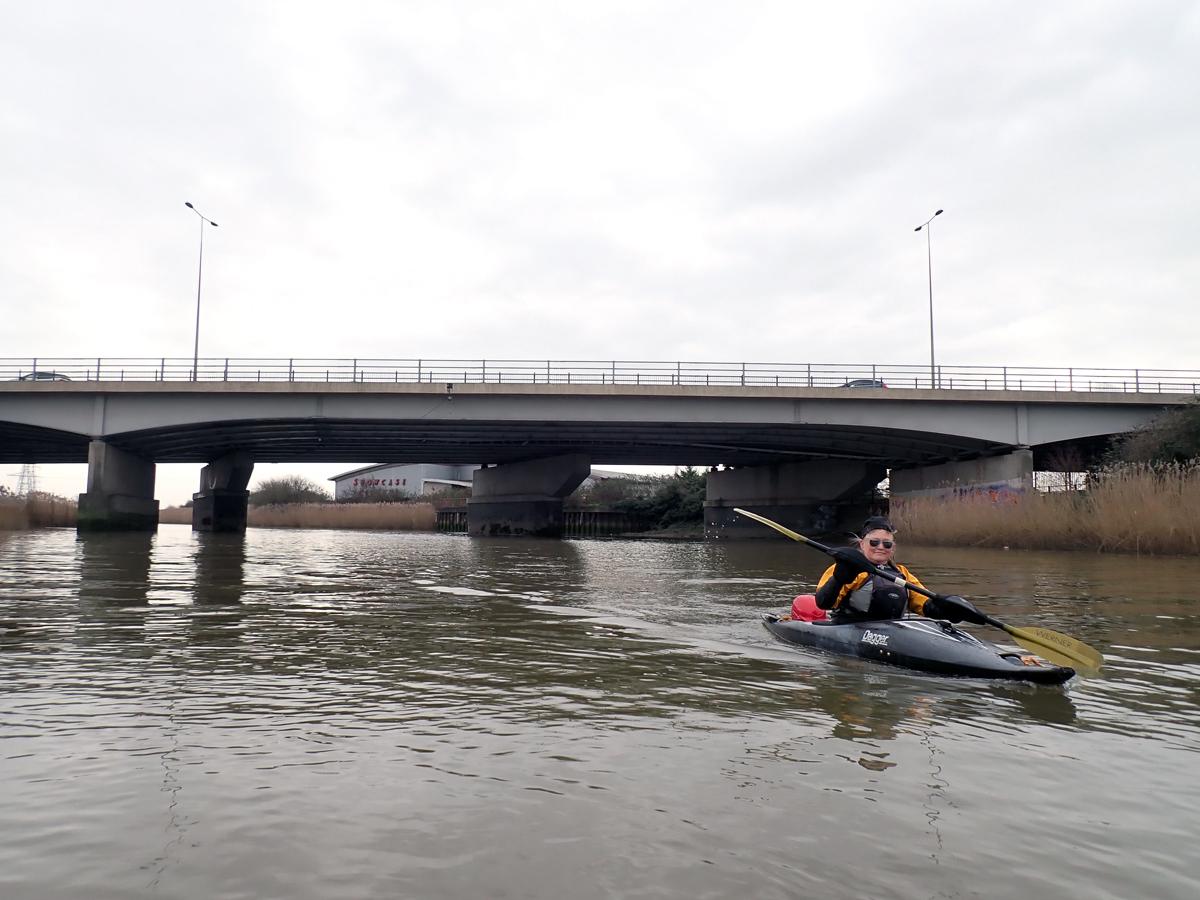Kayaking under the A13 on Barking Creek