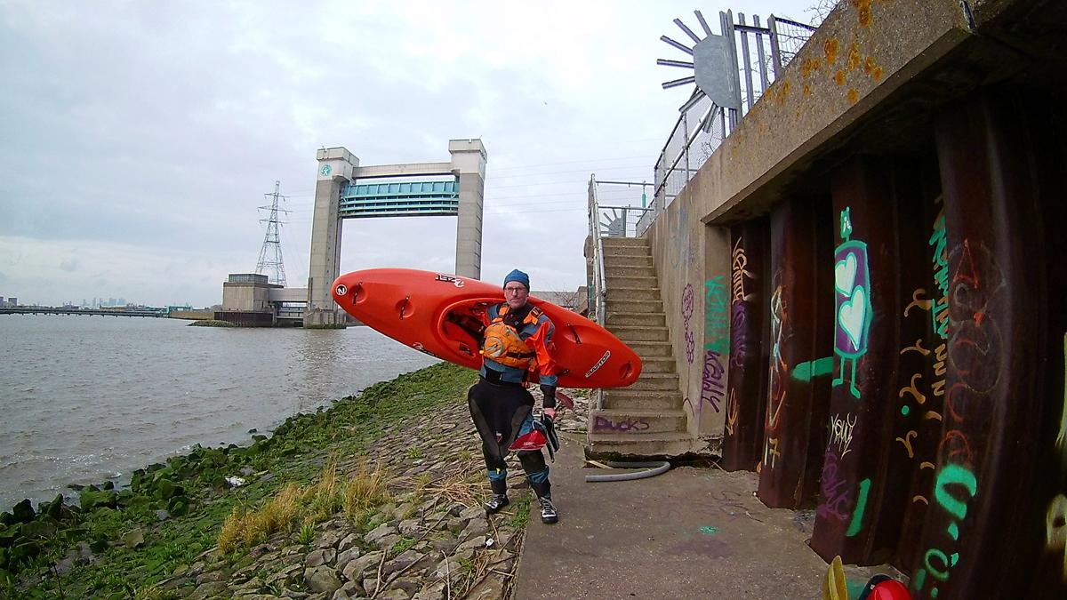 Kayaker about to paddle Barking Creek. Image credit Karina Townsend.