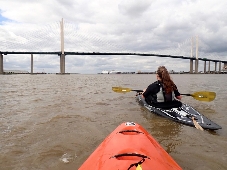 Kayaking towards the QEII bridge
