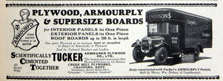Advert for Tucker Armoured Plywood Co Ltd